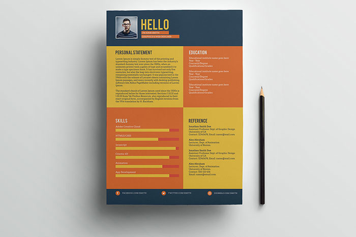Flat Style Resume Template