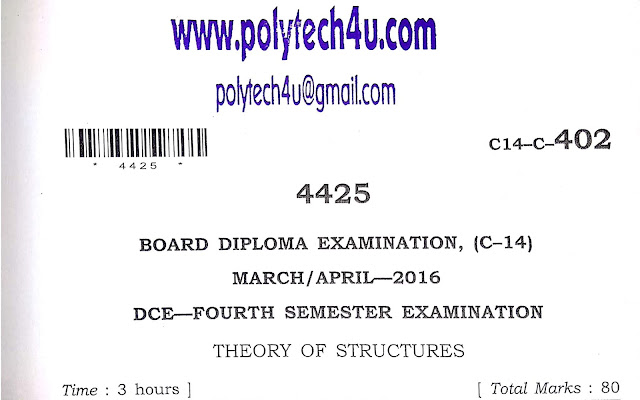 THEORY OF STRUCTURES-SBTET AP MODEL PAPER C-14 DCE