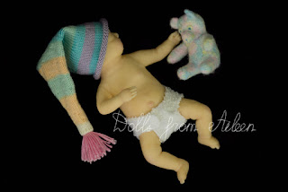 OOAK Mini Baby Doll with teddy bear