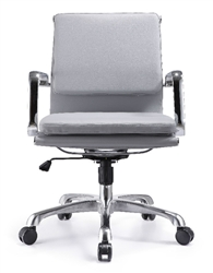 Hendrix Gray Leather Mid Back Office Chair