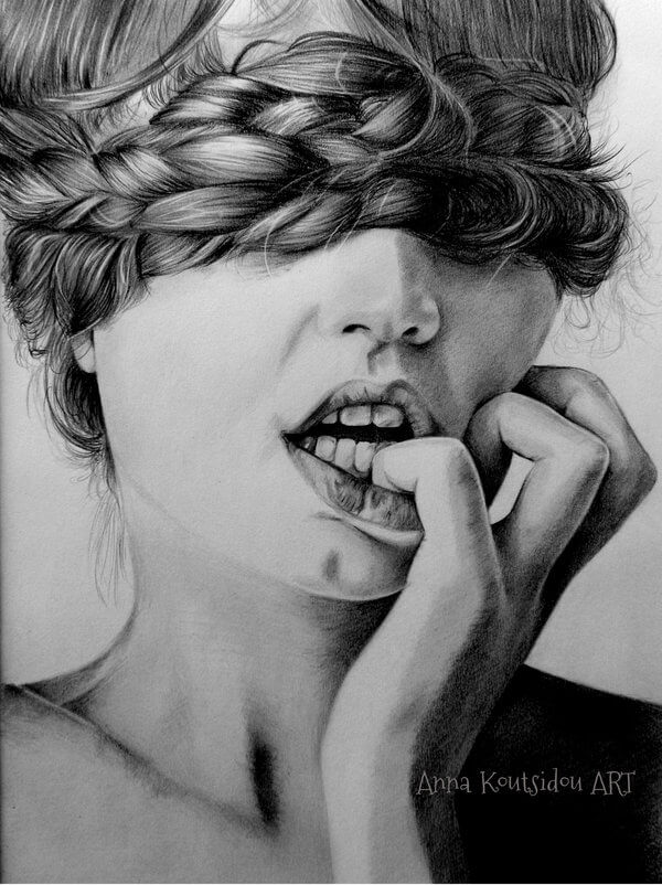 20 Mind-Blowing Pencil Drawings By Greek Artist That Illustrate The Beauty Of Love - Falling in love with the heart and closed eyes