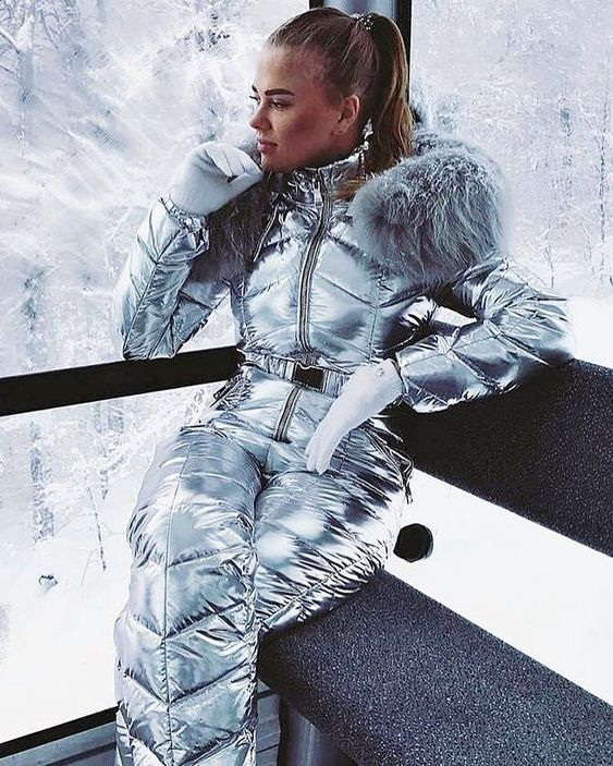 Angelica Blick Ski Outfit Silver Snowsuit