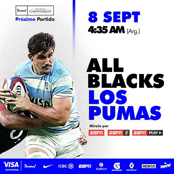 Nueva Zelanda - Argentina (en vivo, Rugby Championship, ESPN 2)