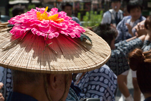 Floral hat at the Reitaisai Festival, Suga Shrine, Asakusabashi, Tokyo.