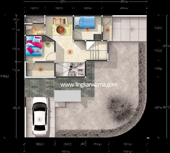 Denah rumah sudut dua lantai dengan luas lahan 148m2 4 kamar tidur