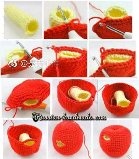 Яблоко с червяком амигуруми (2)