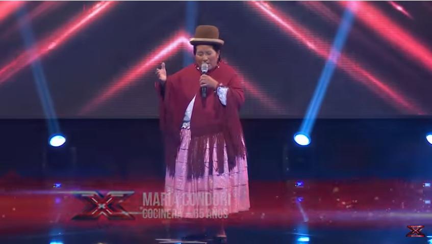 María Condori, de 65 años, se robó el show de canto el lunes / CAPTURA PANTALLA FACTOR X