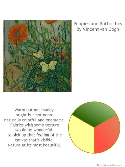Poppies and Butterflies by Vincent Van Gogh with style guidelines and color palette