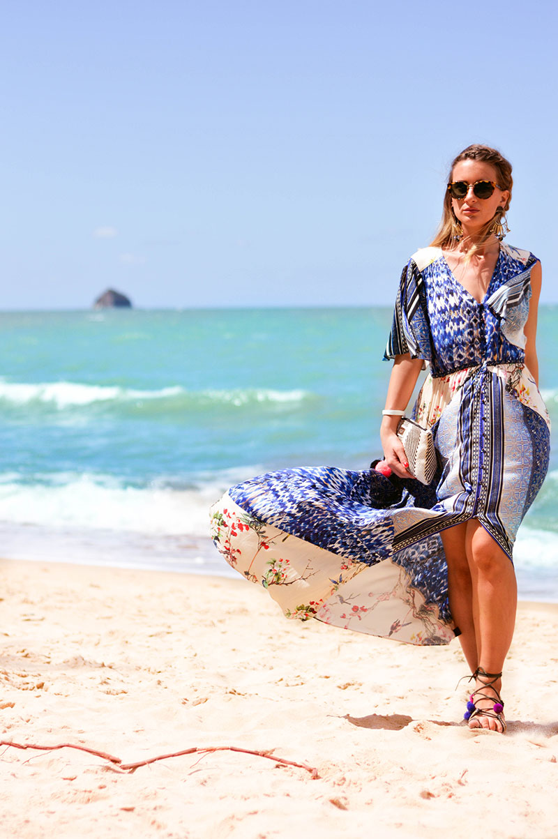 summer beach outfit hale bob printed boho maxi dress with pom pom sandals