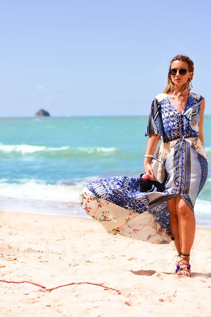 summer beach outfit hale bob printed boho maxi dress with pom pom sandals