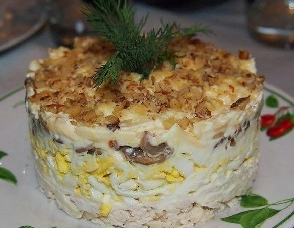 Салаты с фото с грецким орехом и грибами