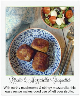 Consisting of starchy rice, earthy mushrooms and stringy mozzarella, these scrumptious and easy to make risotto croquettes (arancini) are just perfect for using up any excess risotto you may have.
