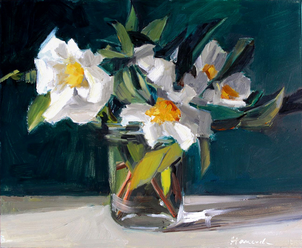 Gretchen Hancocks Paintings White Camellia Bouquet