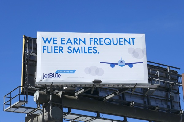 JetBlue frequent flyer smiles billboard