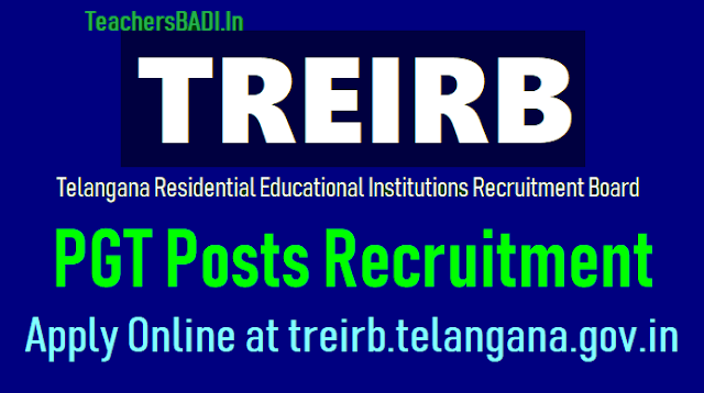 treirb pgt posts 2018 recruitment,how to apply online at treirb.telangana.gov.in.treirb pgt online application form,treirb pgt hall tickets,treirb pgt results,last date to apply for treirb pgt recruitment