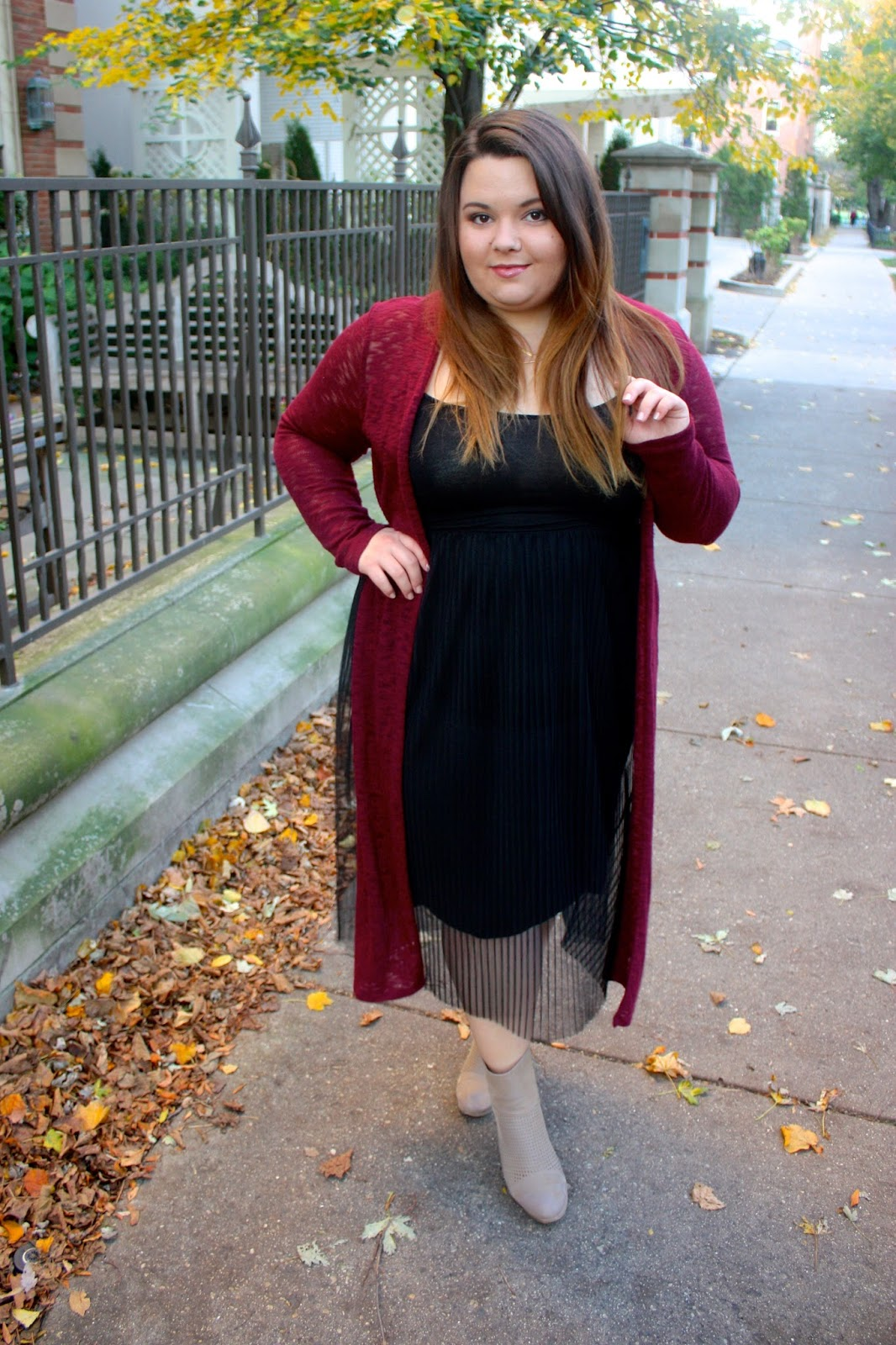 Natalie Craig, Natalie in the city, chicago, fashion blogger, plus size fashion blogger, plus size, ootd, duster cardigan, maxi cardigan, pleated tulle, tulle skirt on plus size women, full figured, see through dress, burgundy, fall fashion, chicago blogger, ankle boots for plus size, what to wear with a duster cardigan, Love EmilyD, chicago doordinate necklace