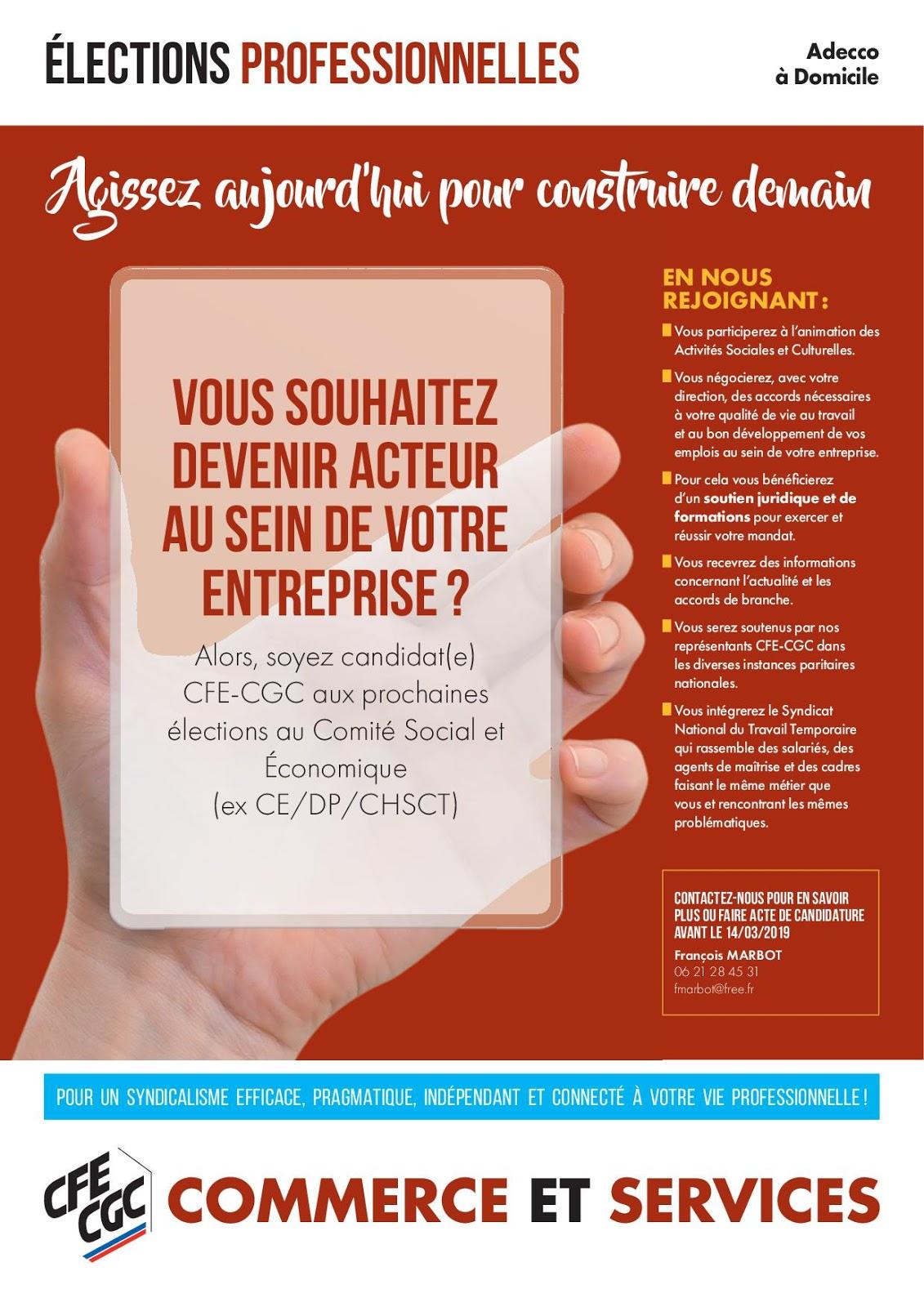 CFE-CGC Adecco: Adecco à domicile : cadres, présentez-vous aux