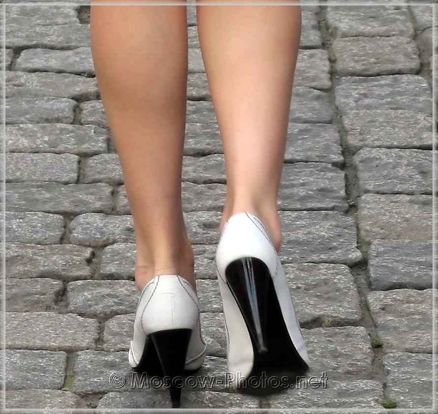 Black-white high heels shoes