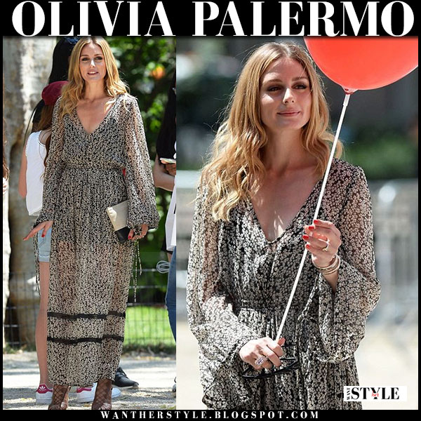 Olivia Palermo in black floral print maxi dress what she wore summer style