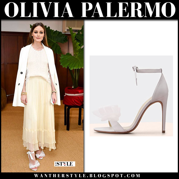 Olivia Palermo in white bow sandals alexandre birman and tulle skirt summer party style july 21