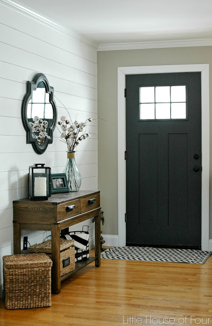 Plank wall and painted front door