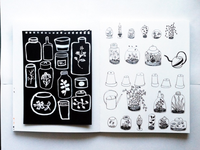 sketchbooks, 2x2 Sketchbook, Dana Barbieri, Anne Butera, black on white, white on black, terrariums, drawing