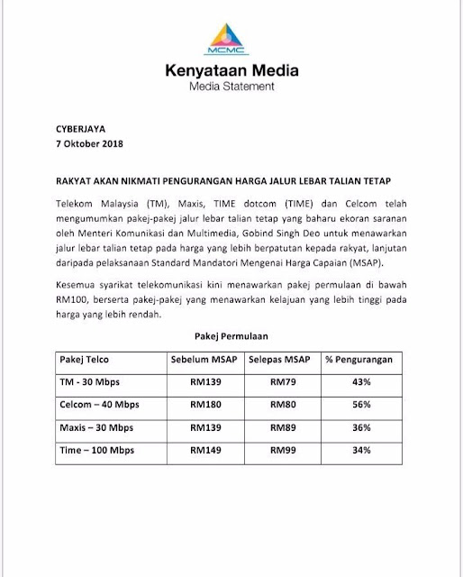 Harga Baharu Pakej Jalur Lebar Telco 2018