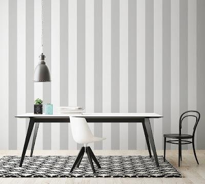 papel pintado de rayas gris y blanco
