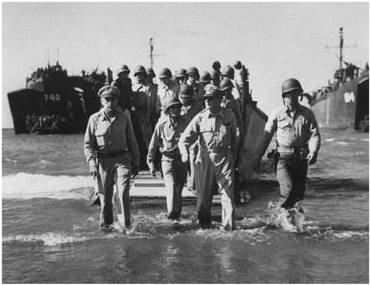 MacArthur wading ashore in the Philippines