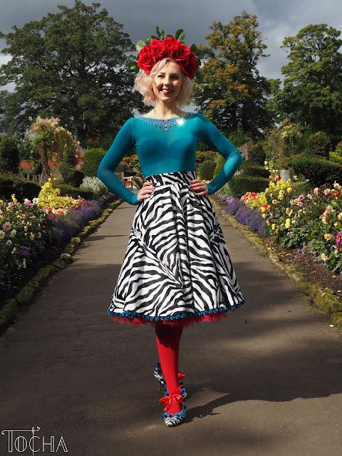 zebra, animal print, Preciosa, Jarmilki, circle skirt, pom poms, flower crown, power mesh, flowers, garden, faux fur, customized shoes, camouflage, Mandors, Minerva Crafts, Glasgow, dressmaker, pattern technologist,