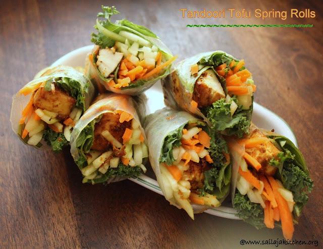 images of Tandoori Tofu Summer Rolls / Tandoori Tofu Rolls / Soft Spring Rolls With Tandoori Tofu / Soft Spring Rolls