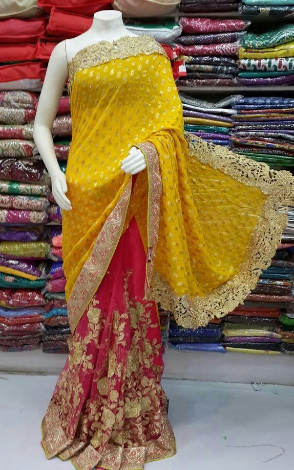 zalar border half n half pink and musterd designer saree by sharmili saree with blouse pis