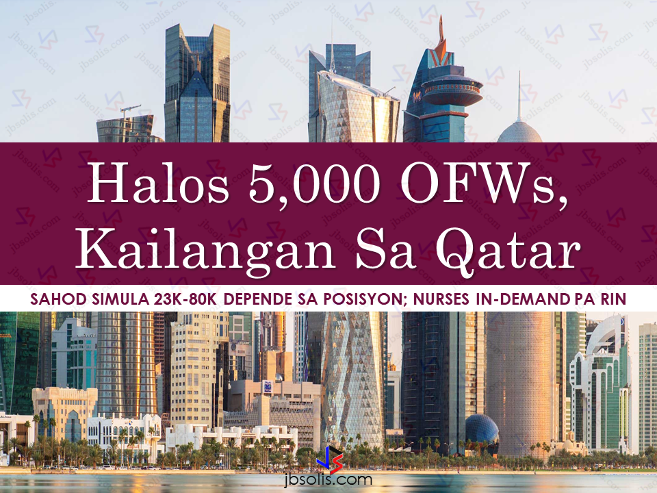 About 5,000 jobs are now available for OFW jobseekers in Qatar according to Philippine Overseas Employment Administration. POEA said that Qatar's economy is remain unfazed in spite of their neighboring GCC countries severance of ties with them. In fact, their infrastructure and construction sector is in great demand of workers. Job openings in Qatar for Filipinos are as follows: Nurses - 1,882 Electrician/ship Electrician - 1,389 Mechanical Engineer – 497 Carpenter – 313 Laborer – 266 Mason – 220 Welder – 151 Foreman – 61 Mechanic – 61 Plasterer – 24 And more other jobs that according to the POEA website, if summed up will be almost 5,000. Sponsored Links For welders and other construction jobs, the initial salary is QR1,700 or around P23,000. It more than P80,000 or QR6,000 for engineers and electricians. Still the most in demand job are nurses with salary of  QR3,200 or P40,000 and up.    According to POEA, Qatar has continuing demand of foreign workers including OFWs to meet the construction demands for their projects related to being the host of FIFA World Cup on 2022. However, the diplomatic crisis between Qatar and other GCC countries creates doubts that the projects will not push through as the conflict is still remains unresolved. However, Qatar said their self sufficiency has been tested and proven due to the diplomatic  crisis. POEA advised the applicants that they do not need to go personally to their offices for qatar jobs. All the details about the jobs including  the accredited agencies can be found in their official website. For more details, you can visit the POEA website at  www.poea.gov.ph *For the list of the POEA accredited and licensed land-based recruitment agencies, watch the video below.  Source: ABS-CBN   Advertisement  Read More:          ©2017 THOUGHTSKOTO