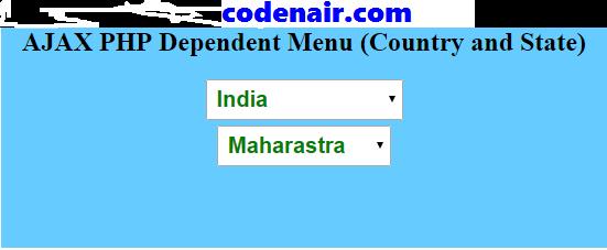 PHP AJAX Dependent Menu (Country and State Dropdown menu)