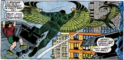 Amazing Spider-Man #63, don heck, john romita, a child clings helplessly to a collapsing cornice as the orginal vulture and blackie drago square up to each other, in mid-air