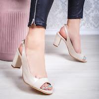 Sandale dama Piele cu toc bej