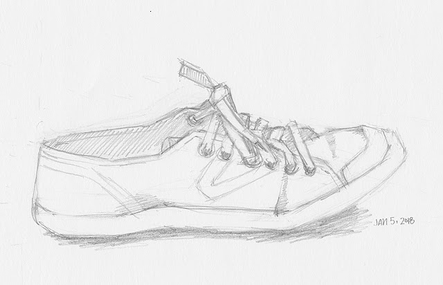 Daily Art 01-05-18 still life sketch in graphite number 94 - tretorn sneaker