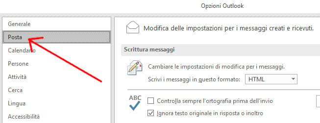 Apertura opzione posta su Outlook