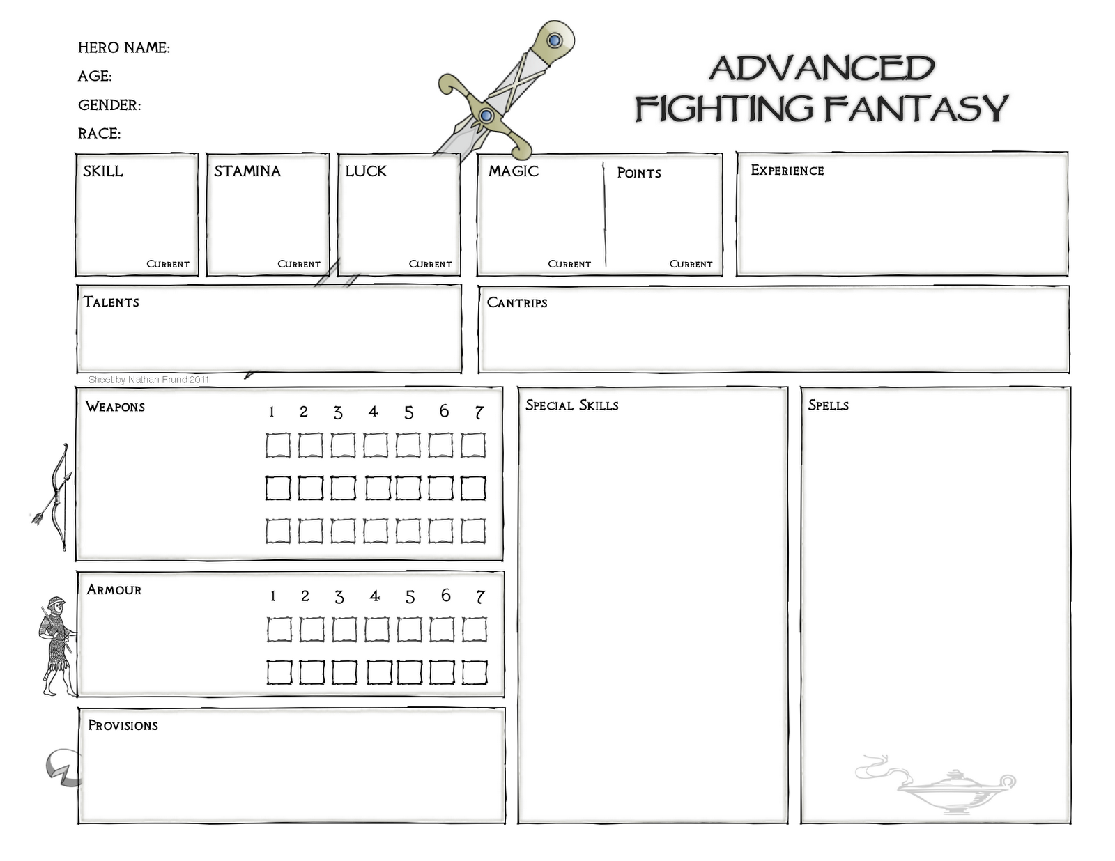 Advanced Fighting Fantasy Character Sheet Platonic Solid
