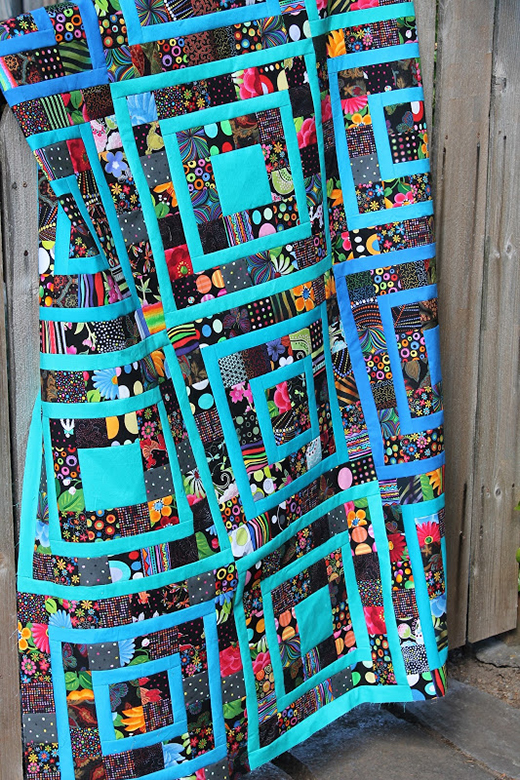 Squares Scrap Quilt Free Tutorial designed by Cyndy of Quilting is more fun than Housework