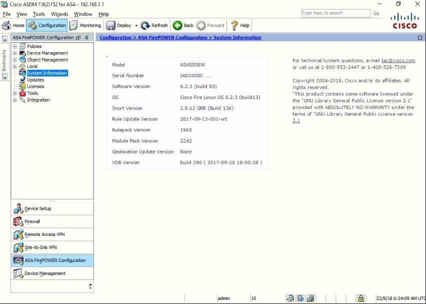 My Cybersecurity Journal: Cisco ASA 5506W-X FirePOWER Module Update