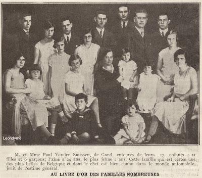 De familie Paul Vander Smissen uit Gent bestond uit 17 kinderen.