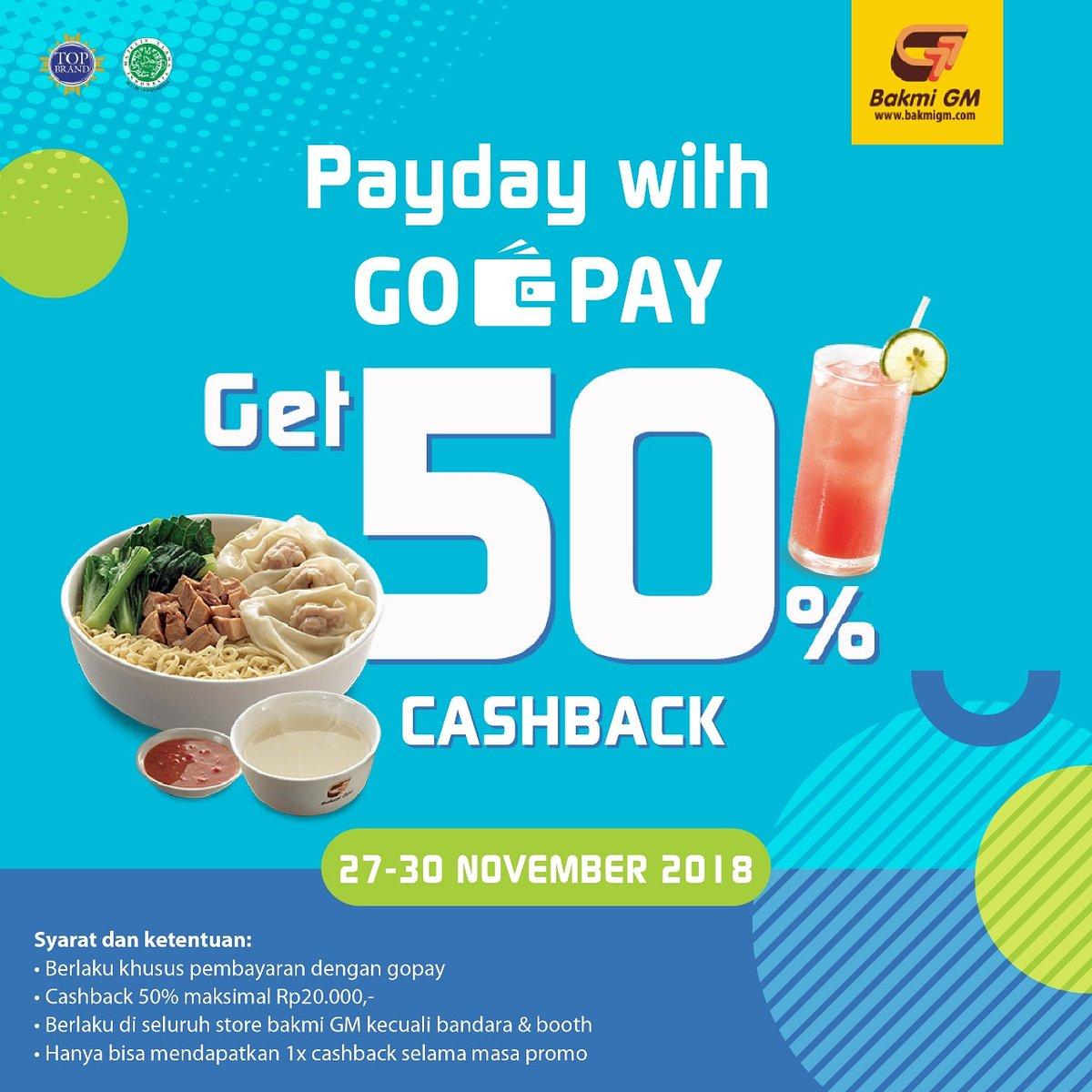 BakmiGM - Promo Casback 50% Pakai GOPAY PAYDAY (s.d 30 Nov 2018)