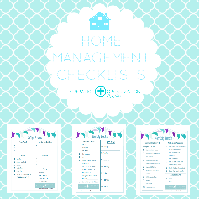 Check out the FREE printable Home Management checklists that Operation Organization by Heidi has available!