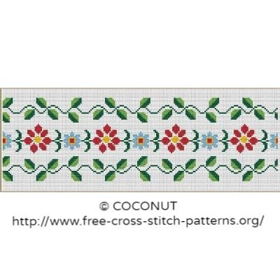 Flower border (4), Free and easy printable cross stitch pattern