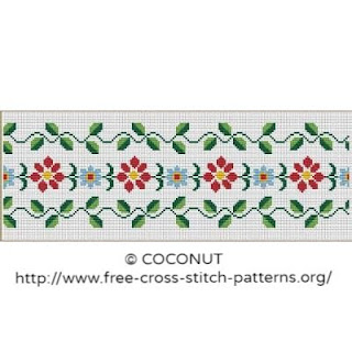 Flower border cross stitch pattern for free