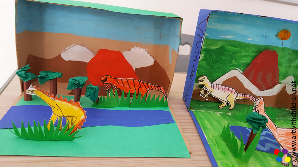 Kitchen Diorama Made Of Cereal Box: PREHISTORIC LANDSCAPE IN A CEREAL BOX