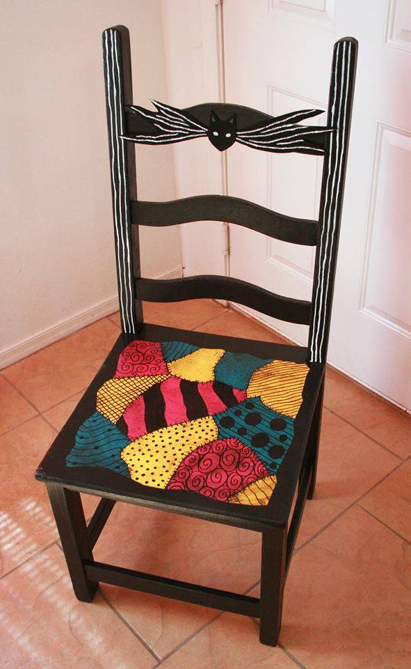 first elizabeth c shared the most beautiful thrift store chair makeover any tim burton fan could ask for - Nightmare Before Christmas Furniture