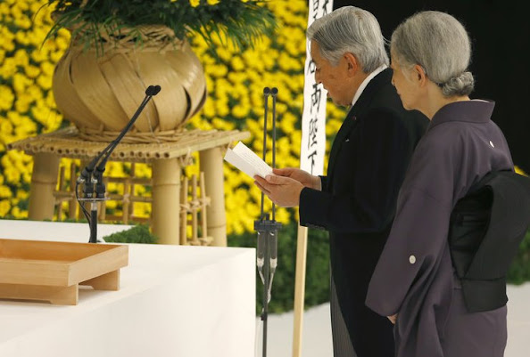Emperor Akihito and Empress Michiko during the annual memorial service for war victims in Tokyo