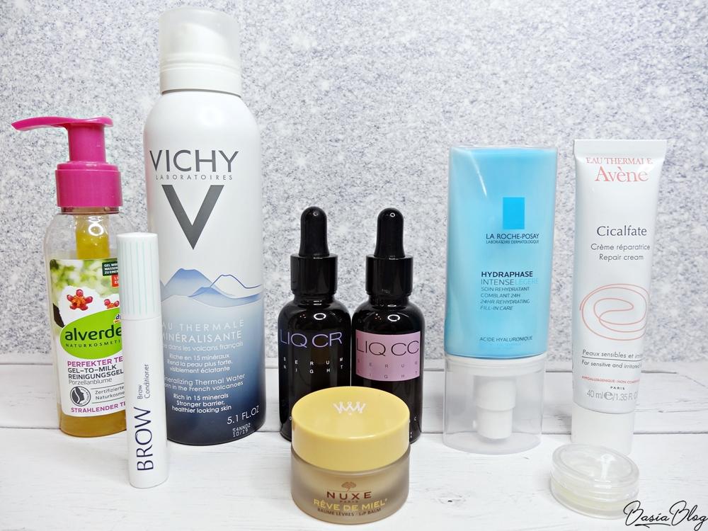 żel-mleczko Alverde, Orphica brow, woda termalna Vichy, serum z retinolem LIQ CR, serum z witaminą C LIQ CC, La Roche Posay Hydraphase Legere, Nuxe Reve de Miel, Avene Cicalfate